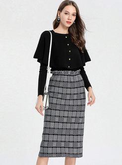 Work Cloak Long Sleeve Top & Plaid Knit Skirt