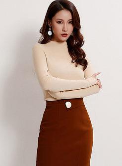 Standing Collar Pullover Slim Sweater