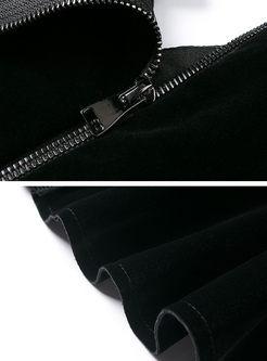V-neck Lantern Sleeve Falbala Velvet Top