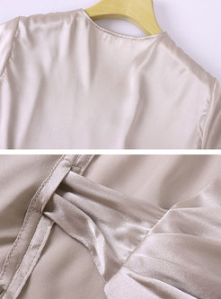 V-neck Cross Tassel Bowknot Pullover Silk Blouse