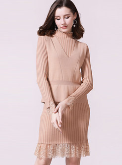 Camel Lace Patchwork Knit Dress Vest Two-piece Outfits