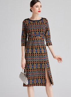 O-neck 3/4 Sleeve Print Waist Split Bodycon Dress