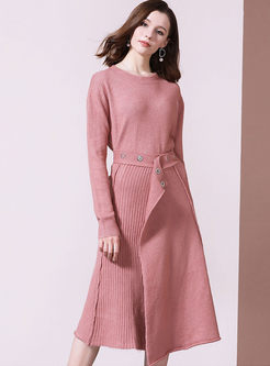Pink Bat Sleeve Irregular Two Piece Outfits