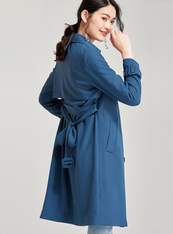 Lapel Slim Trench Coat With Belt