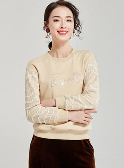O-neck Letter Embroidered Pullover Sweatshirt