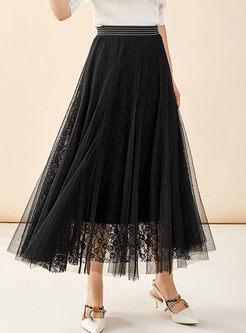 Elastic Waist Lace Big Hem Mesh Skirt