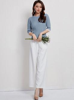Blue O-neck Half Sleeve Slim Sweater