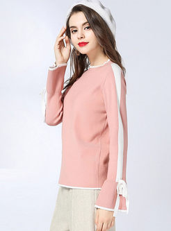 Color-blocked O-neck Flare Sleeve Sweater