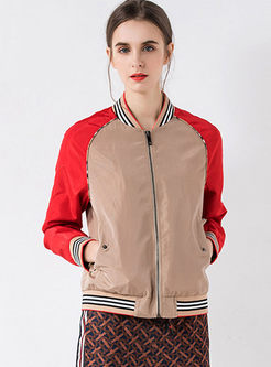 Fashion Patchwork Loose Baseball Jacket