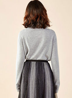 Turtleneck Solid Color Pullover Sweater