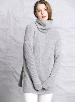 Brief Solid Color Turtleneck Slit Sweater