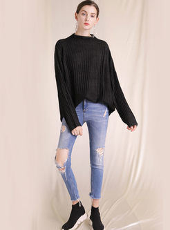 Brief Half Turtleneck Long Sleeve Sweater