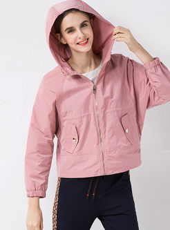 Casual Hooded Zippered Jacket With Pockets