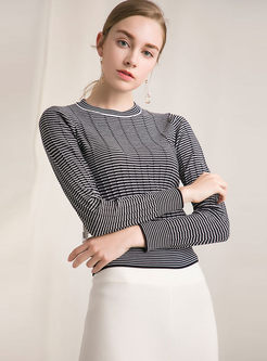 Striped Slim Pullover Sweater