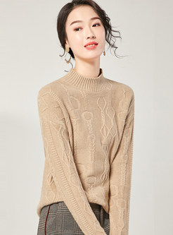 Solid Color Stand Collar Sweater