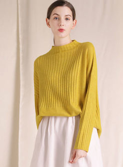 Yellow Pullover Loose Pullover Sweater