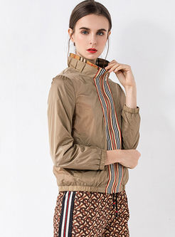 Stand Collar Striped Patchwork Jacket