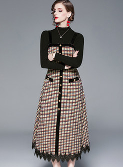 Stand Collar Slim Knit Top & Plaid Strap Dress