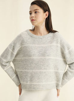 O-neck Pullover Striped Loose Sweater