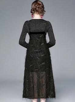 O-neck Slim Knit Top & Patchwork Strap Dress