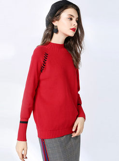 Red Standing Collar Pullover Loose Sweater