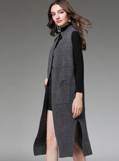 Stand Collar Split Loose Knit Vest Coat