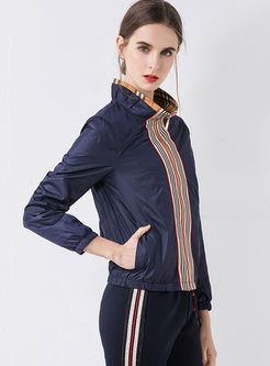 Plaid Patchwork Striped Zippered Jacket
