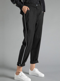 Casual Elastic Patchwork Tapered Pants