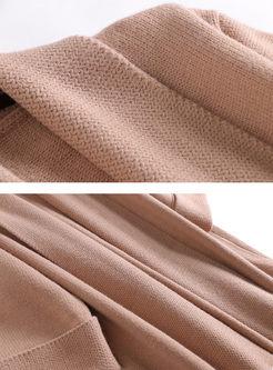 V-neck Long Sleeve Loose Knitted Coat