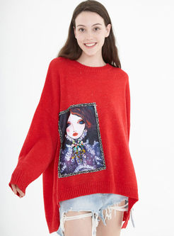O-neck Bat Sleeve Cartoon Patchwork Sweater