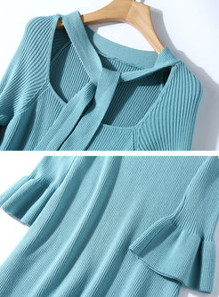 Solid Color Flare Sleeve Sweater Dress