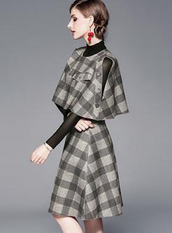 Turtleneck Tee With Cloak & Plaid Skirt