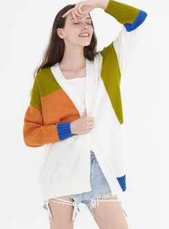 Color-blocked V-neck Loose Knitted Cardigan