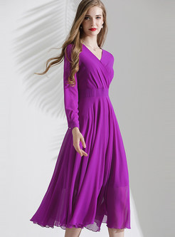 V-neck Long Sleeve Waist Skater Dress