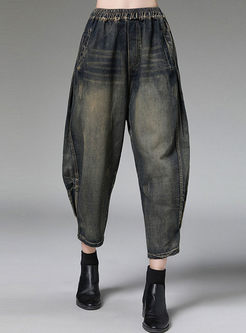 High Waisted Denim Cropped Pants