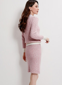 O-neck Color-blocked Sweater & Elastic Slim Knit Skirt