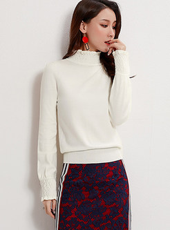 Solid Color High Collar Thin Knit Top