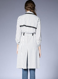 Notched Striped Long Sleeve Trench Coat