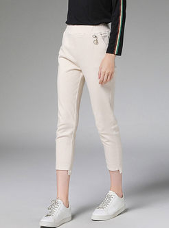 Elastic Waist Slim Irregular Pencil Pants