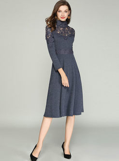 Standing Collar Openwork Striped Dress