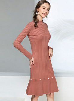 Solid Color Beading Slim Sweater Dress