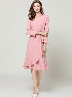 Pink V-neck Falbala Slim Wrap Dress