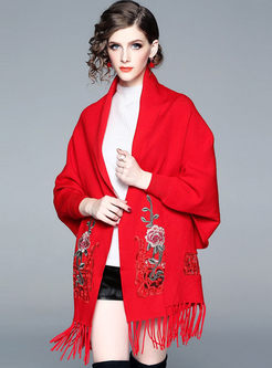 Red Long Sleeve Embroidered Tassel Cardigan