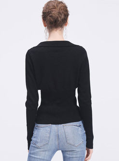 Black Long Sleeve Pullover Slim Sweater