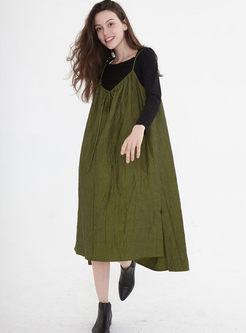 V-neck Loose Slit Shift Sun Dress