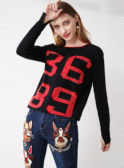 Color-blocked Patchwork Letter Pullover Sweater