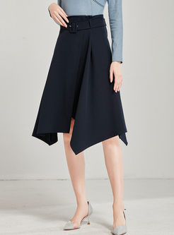 High Waisted Irregular Hem A Line Skirt