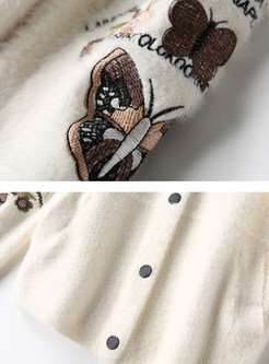 White V-neck Embroidered Zip-up Sweater