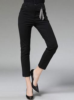 Casual Black Slim Pencil Pants