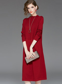 Red O-neck Long Sleeve Patchwork Shift Dress